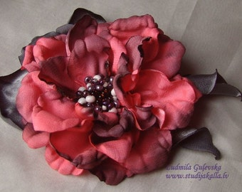 Handmade pink - gray satin flower brooch, flower clip & pin