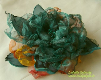 Handmade dark sea-green organza flower brooch, flower clip & pin