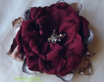 Handmade claret satin flower brooch, flower clip & pin