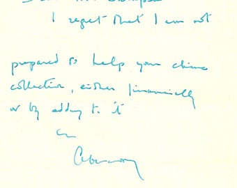 Lord Aberconway Signed Letter - Hand Written Letter - Dated 29th June 1994