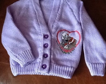 Lilac hand knitted baby cardigan  with Lady & the Tramp embroidery