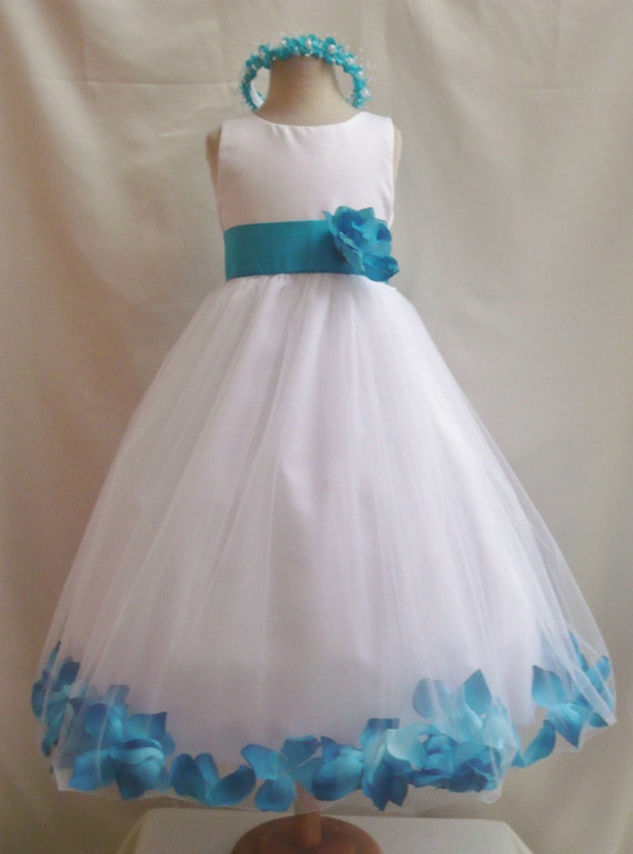 flower girl dresses white with turquoise rose by