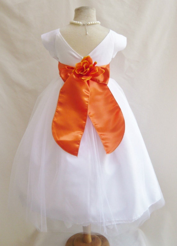 Flower girl dresses white with orange burnt by nollacollection for White and orange wedding dress