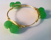 CLOSE OUT ITEM - The Boone - gold wire wrapped bracelet bangle with green beads