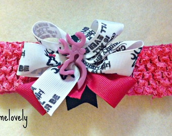 Cause A Country Girl is all Ill Ever be Baby Girl Boutique Bow Crocheted Headband