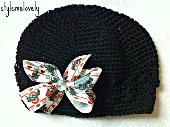 Ohio State Baby Girl Bow Crocheted Hat