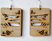 """Laser cut rectangular poplar earrings, 2 3/4"""" x 2"""", sterling silver earwire"""
