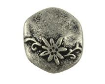 Flower Metal Buttons - Hexagon Flower and Vine Antique Silver Metal Shank Buttons - 20mm - 3/4 inch - 3 pcs