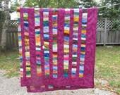 Queen Size Purple Cotton Batik Scrap Quilt
