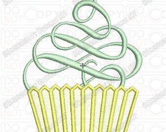 Fancy Swirl Cupcake 1 Full Stitch Embroidery Design in 3x3 4x4 and 5x7 Sizes