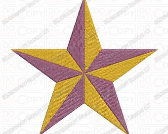 3D Star Embroidery Design in 1x1 2x2 3x3 4x4 and 5x7 Sizes