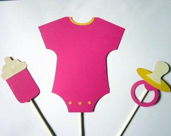 Girl Baby Shower Centerpiece Sticks - Onesie, baby bottle, paci - Pink Baby Shower Centerpieces