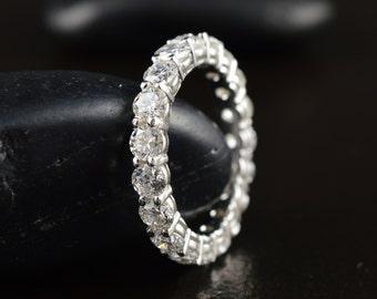 Split Prong Diamond Eternity Band in 14k White Gold, 2.13ctw, 3mm Wide, Split Prong Closed Baskets, Classic Diamond Eternity Ring, Daniella