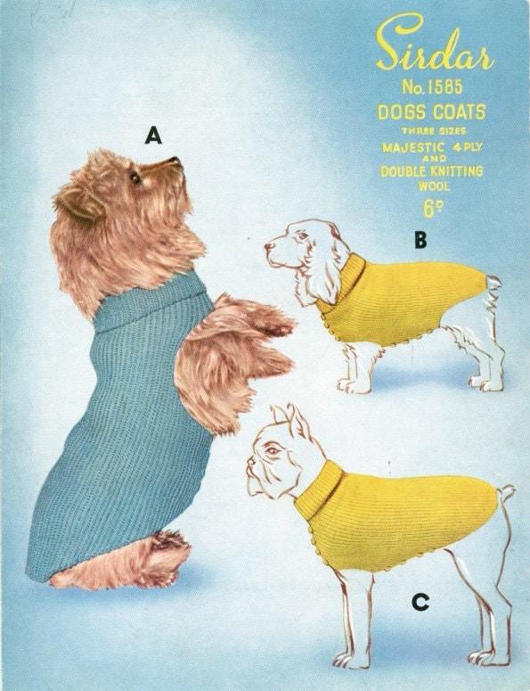 Vintage Dog Coat Knitting Pattern : Vintage Knitting pattern to knit for Dogs Coats 3 sizes 4