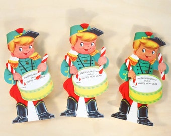 SALE 25% OFF CIJ Super Cute Vintage Diecut Merry Christmas and Happy New Year Movable Drummer Pack of 3