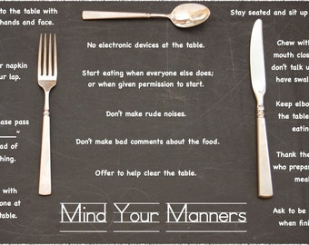 Etiquette Placemat: Mind Your Manners • Laminated • Fork, Knife, Spoon on chalkboard-motif