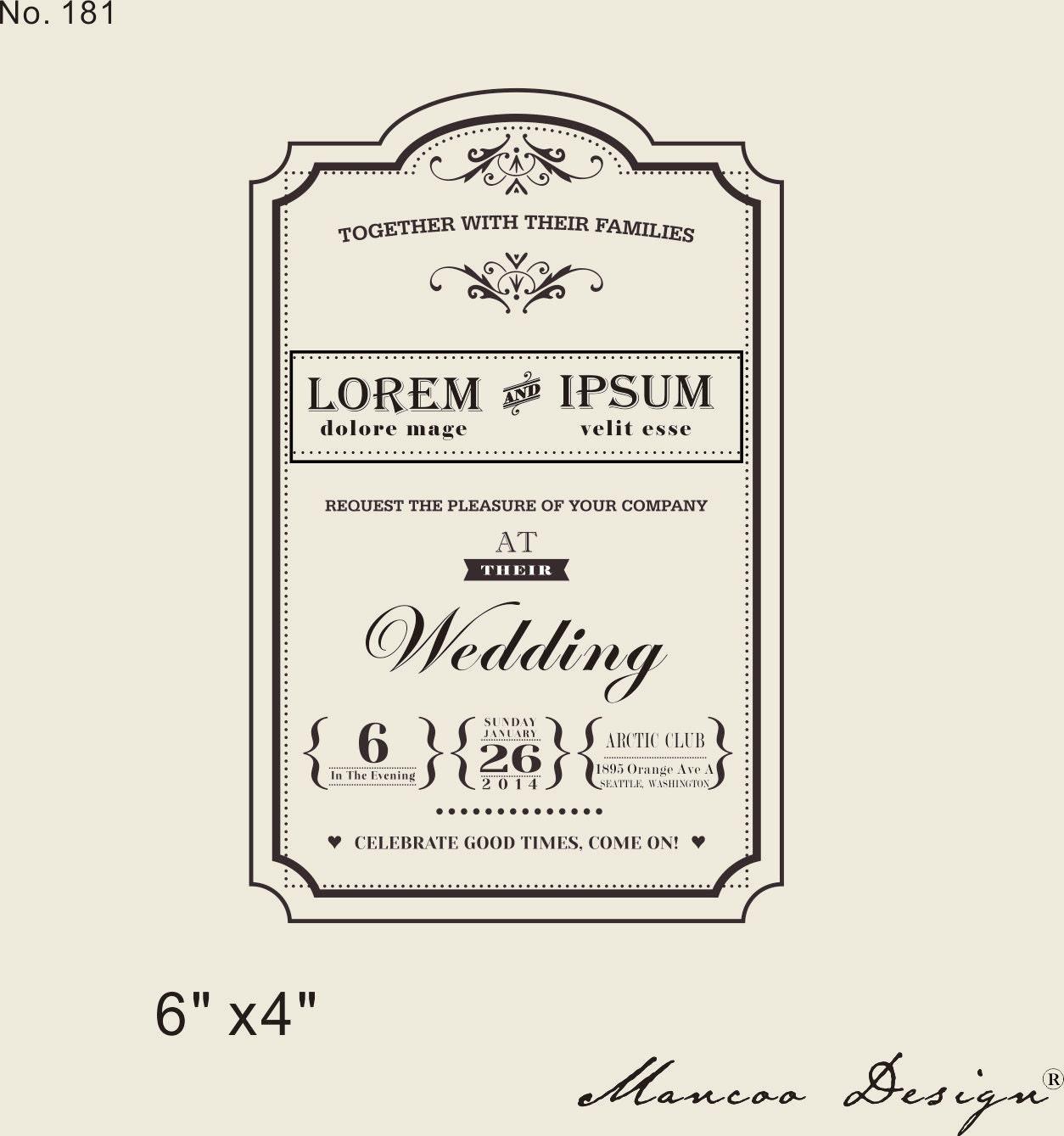 Custom Rubber Stamp 4 X6 Wedding Invitation