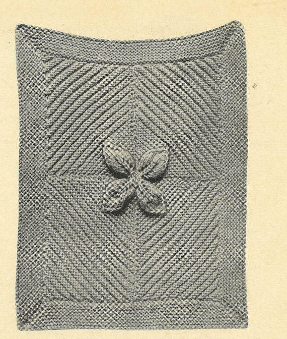 Leaf design pram rug vintage baby knitting pattern PDF
