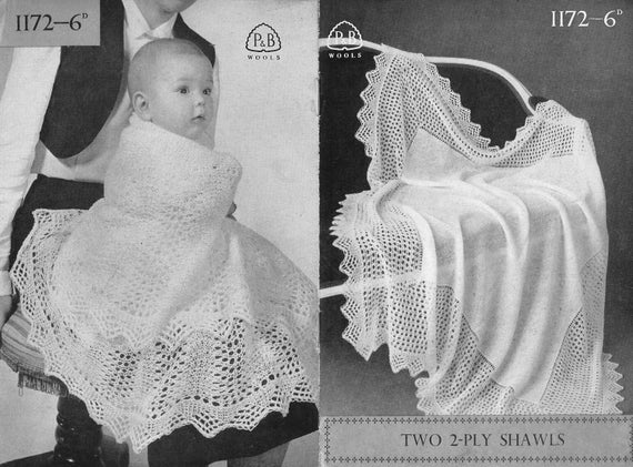 2 Ply Baby Knitting Patterns : 2 ply baby shawls vintage knitting pattern PDF