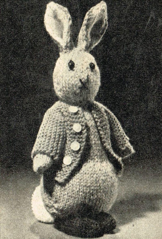 Knitting Patterns Rabbit Soft Toy : Peter rabbit soft toy vintage knitting pattern pdf instant