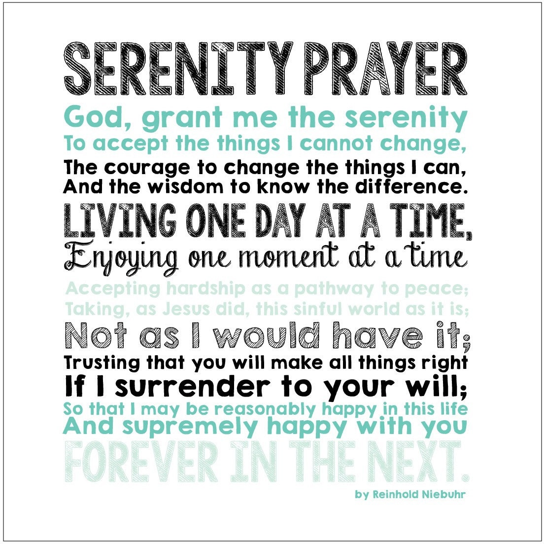 Slobbery image throughout free printable serenity prayer