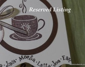 RESERVED LISTING for Becky D:  Thanks a Latte Coffee Notecards (set of 10)