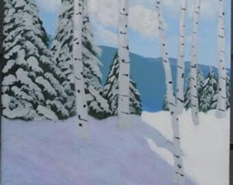 Sentinels - Acrylic landscape on canvas painting 12x12