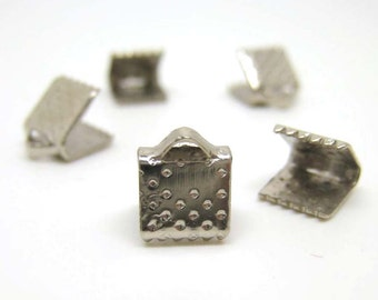 50pcs Silver Rectangular Cord Tip Fastener Clasps Crimp Cord End Clasp Lace Leather End Clasp 6x6mm (CHM-OS-REC0606)