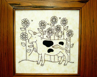 Sunflower Cow. Hand embroidery pattern. Downloadable PDF