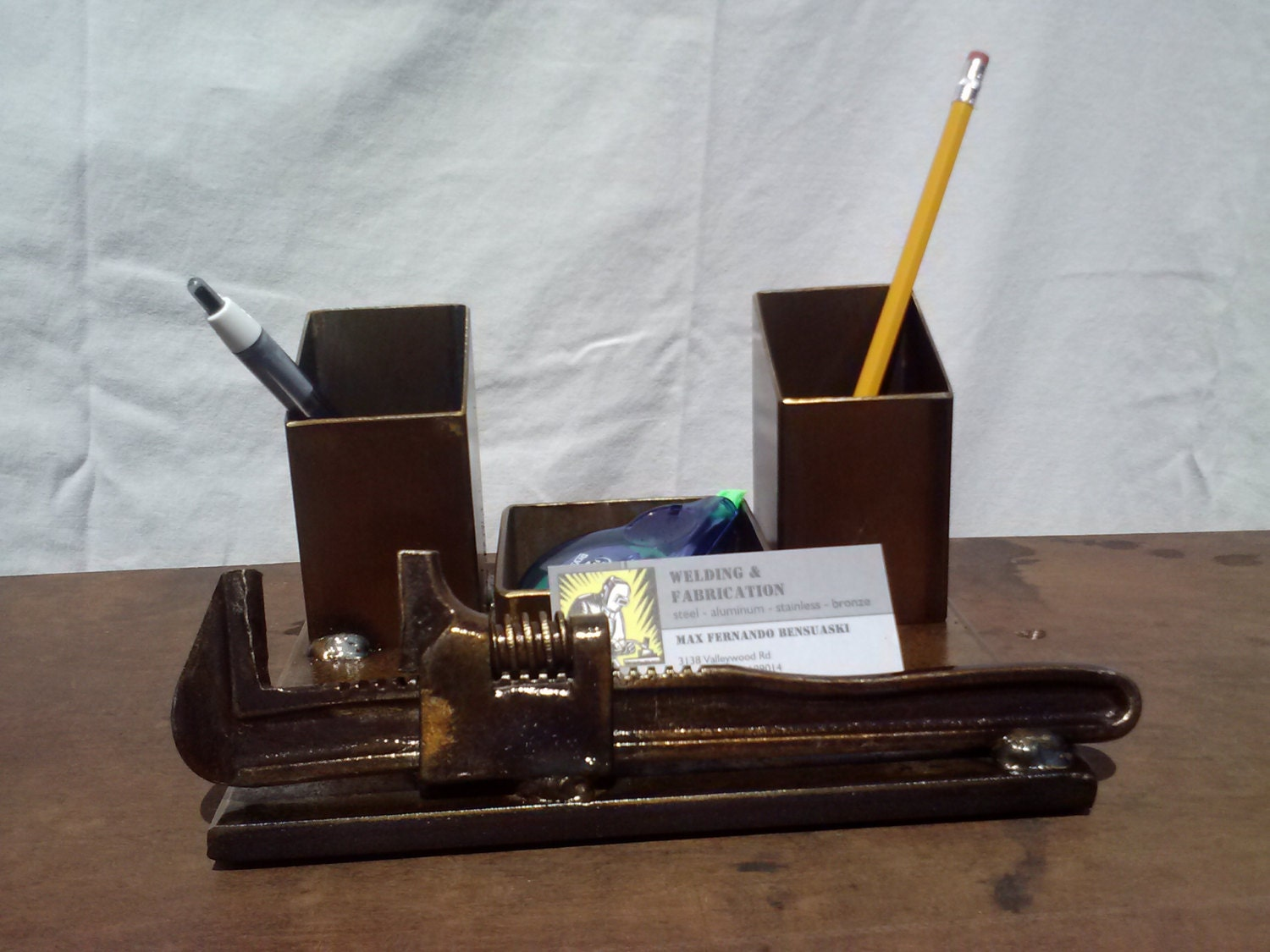 Desk Organizer Pencil And Business Card Holder With By