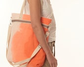Linen bag gradient. Large shoulder bag. Orange bag. Handmade bag. Summer bag . PETRA ORANGE.
