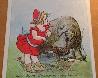 Antique Adventures of Lovely Lilly Kaber ad book Postcard  1907