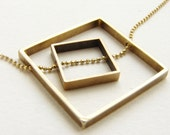 Square statement necklace, square pendant necklace, square in square pendant necklace Geometric jewelry gift for her