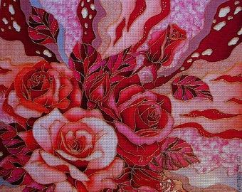 "Needlepoint canvas ""Pink posy"" (AIV029)"
