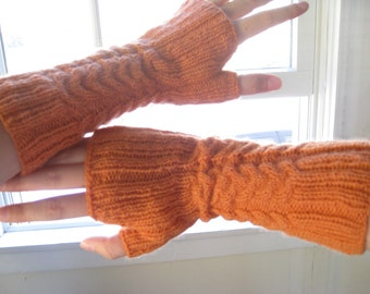 Orange Cabled Wristwarmers
