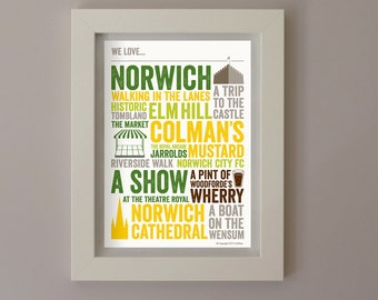 We Love Norwich A4 Typographic Poster