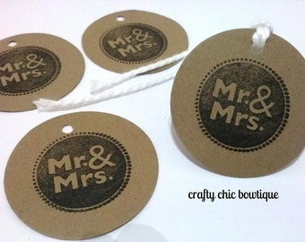 Wedding gift tags, Mr. and Mrs. hand stamped