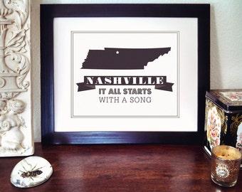 Nashville Poster - Songwriter Print - Nashville Print - Nashville Tennessee - Tennessee State - Nashville Songwriter