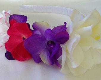 Purple, pink, yellow and white flower headband with rhinestones