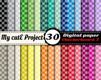 Checkerboard Digital Paper #3, Commercial Use, Scrapbook papers, Background, Rainbow digital paper, Rainbow colors checkerboard N7