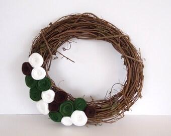 Seasonal Wreath for Door - Felt Flowers - Fall Wreath -  Winter Wreath - Christmas Wreath