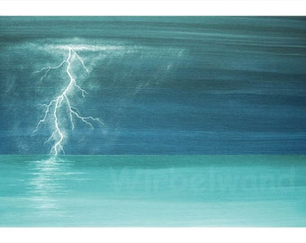 Print of an acrylic painting - Thunder and Lightning at the Sea (17 x 12 inch) Colour variation turquoise