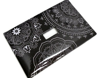 Off Black and White Light Switch Plate, Off Black with White Pattern, Single Switch, Paper Decoupage, Varnished