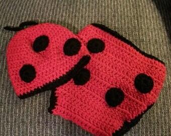 Infant Ladybug Daiper cover and Hat set.