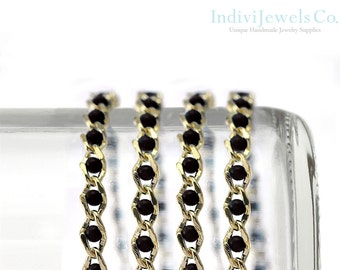 Glass Bead Chain .  Jewerlry Findings . Jet .  Onyx .16K Polished Gold Plated over Brass / 1 Meter - CH533-PG