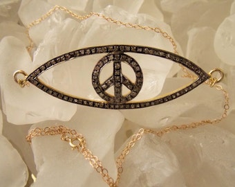 SALE - Pave Diamond Evil Eye with Peace Symbol Necklace on 14k Solid Gold Chain