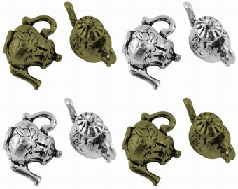 5 x Tibetan Silver 3D Teapot Alice in Wonderland Steampunk Charms TS280 / TS241