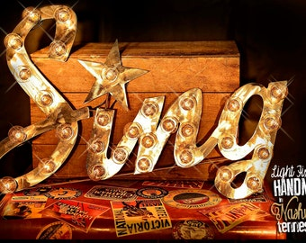 """Marquee Letter, Marquee Star, Lighted Metal MARQUEE SIGN, Marquee Light Marquee Fixture, Marquee Letter, Marquee Sign: """"SING"""""""