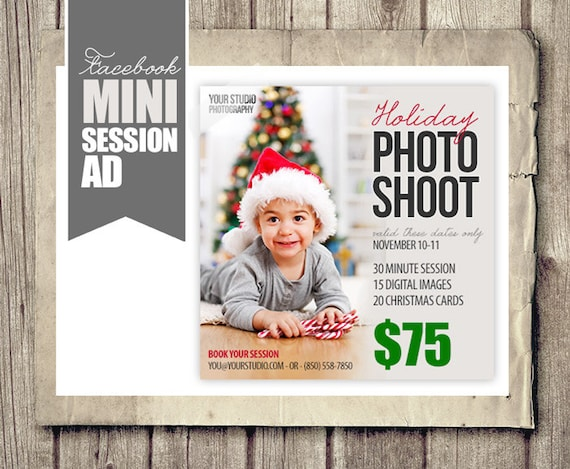 Holiday Christmas Facebook Ad For Photographers Holiday - Photography ad template