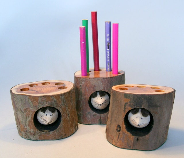 Handmade recycled Log Pencil Holder by Tom by TomThumbDesigns